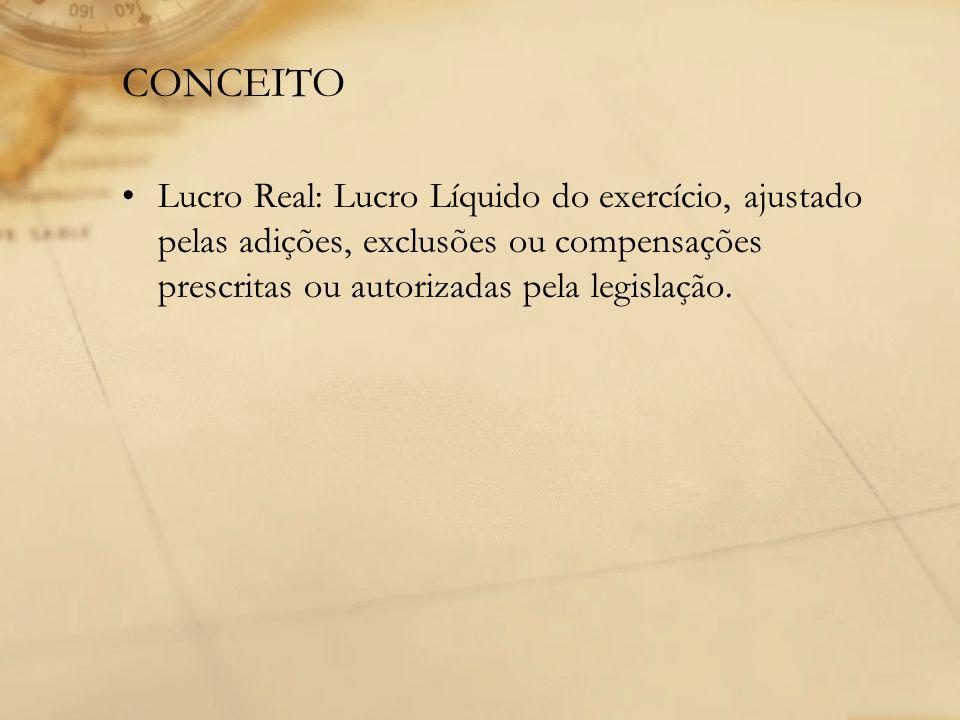 CONCEITO Lucro Real: Lucro Líquido do exercício, ajustado pelas adições, exclusões ou compensações prescritas ou autorizadas pela legislação.