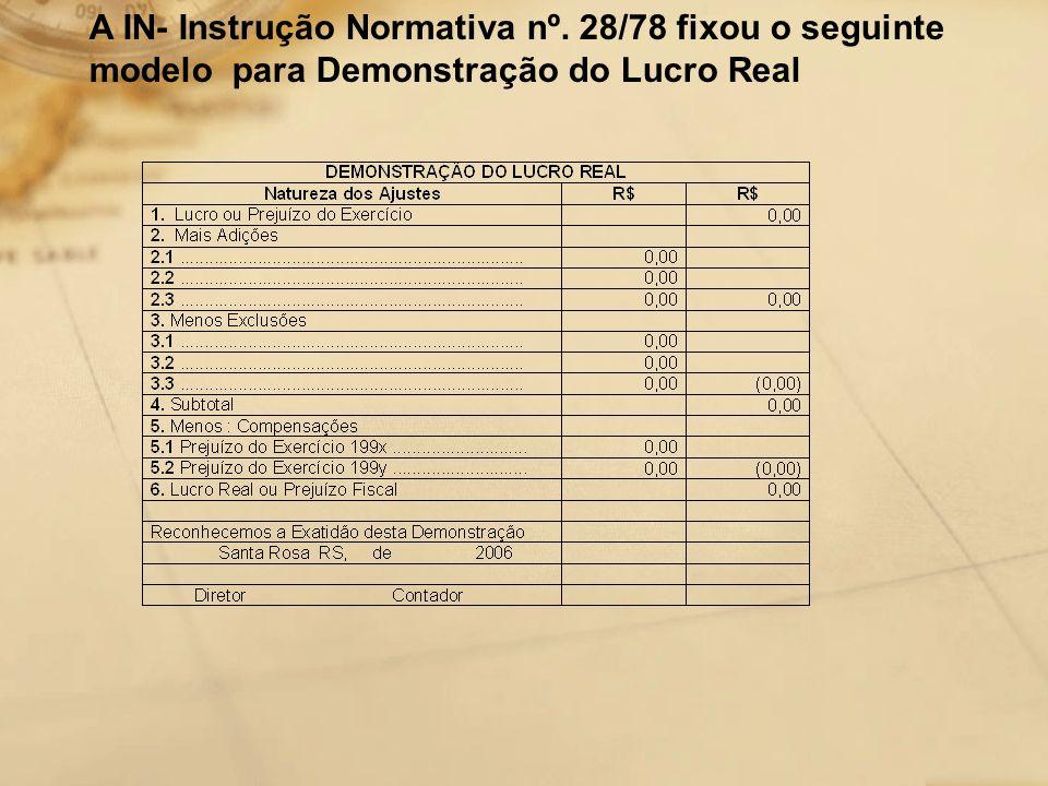 A IN- Instrução Normativa nº. 28/78 fixou o seguinte modelo para Demonstração do Lucro Real