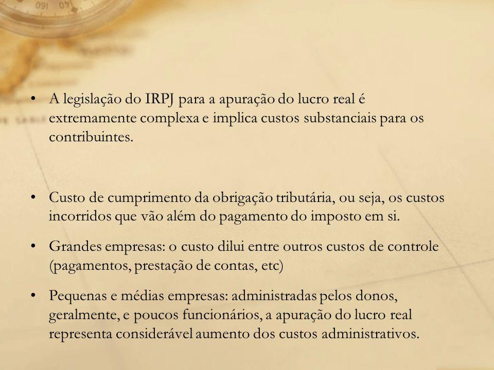 A legislação do IRPJ para a apuração do lucro real é extremamente complexa e implica custos substanciais para os contribuintes. Custo de cumprimento d