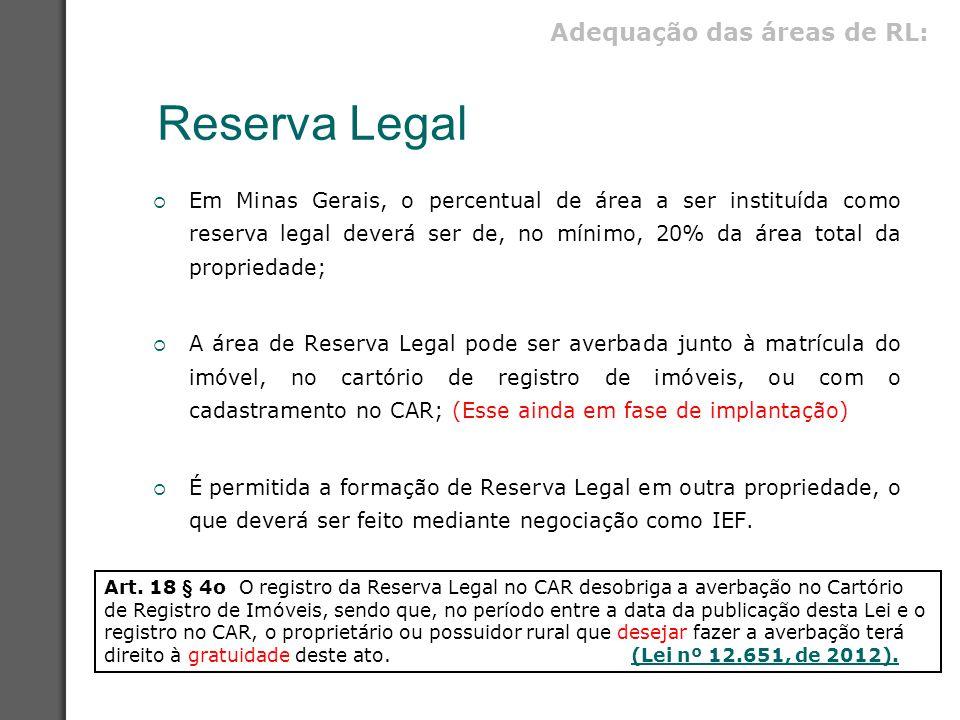 Reserva Legal  Em Minas Gerais, o percentual de área a ser instituída como reserva legal deverá ser de, no mínimo, 20% da área total da propriedade;