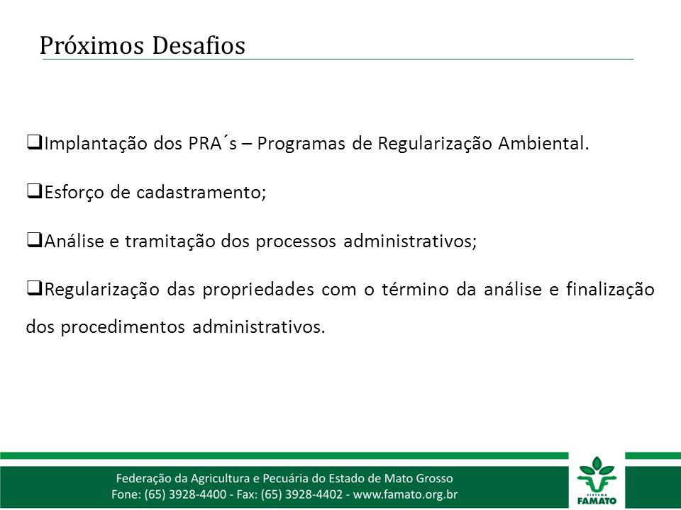 Próximos Desafios  Implantação dos PRA´s – Programas de Regularização Ambiental.  Esforço de cadastramento;  Análise e tramitação dos processos adm