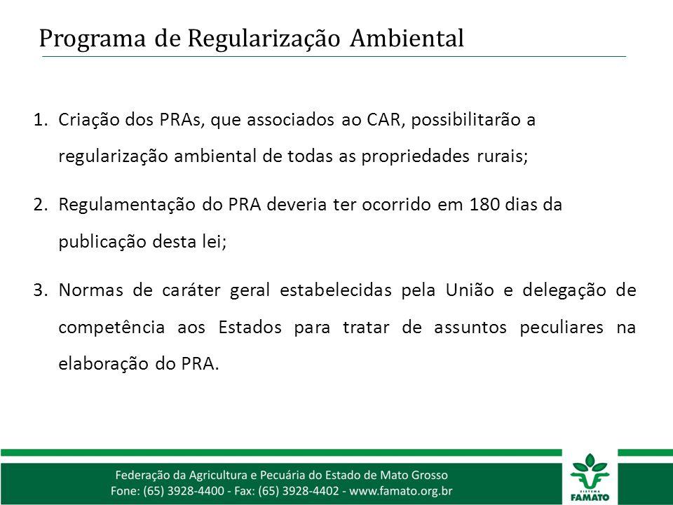 Programa de Regularização Ambiental 1.Criação dos PRAs, que associados ao CAR, possibilitarão a regularização ambiental de todas as propriedades rurai
