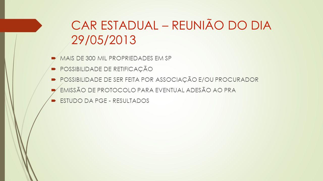 CAR ESTADUAL – REUNIÃO DO DIA 29/05/2013  MAIS DE 300 MIL PROPRIEDADES EM SP  POSSIBILIDADE DE RETIFICAÇÃO  POSSIBILIDADE DE SER FEITA POR ASSOCIAÇÃO E/OU PROCURADOR  EMISSÃO DE PROTOCOLO PARA EVENTUAL ADESÃO AO PRA  ESTUDO DA PGE - RESULTADOS