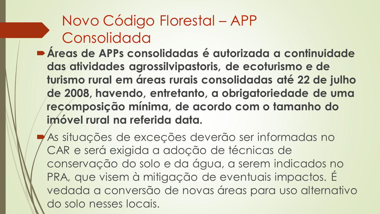 Novo Código Florestal – APP Consolidada  Áreas de APPs consolidadas é autorizada a continuidade das atividades agrossilvipastoris, de ecoturismo e de turismo rural em áreas rurais consolidadas até 22 de julho de 2008, havendo, entretanto, a obrigatoriedade de uma recomposição mínima, de acordo com o tamanho do imóvel rural na referida data.