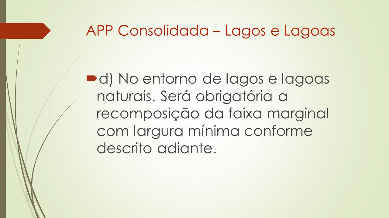 APP Consolidada – Lagos e Lagoas  d) No entorno de lagos e lagoas naturais.