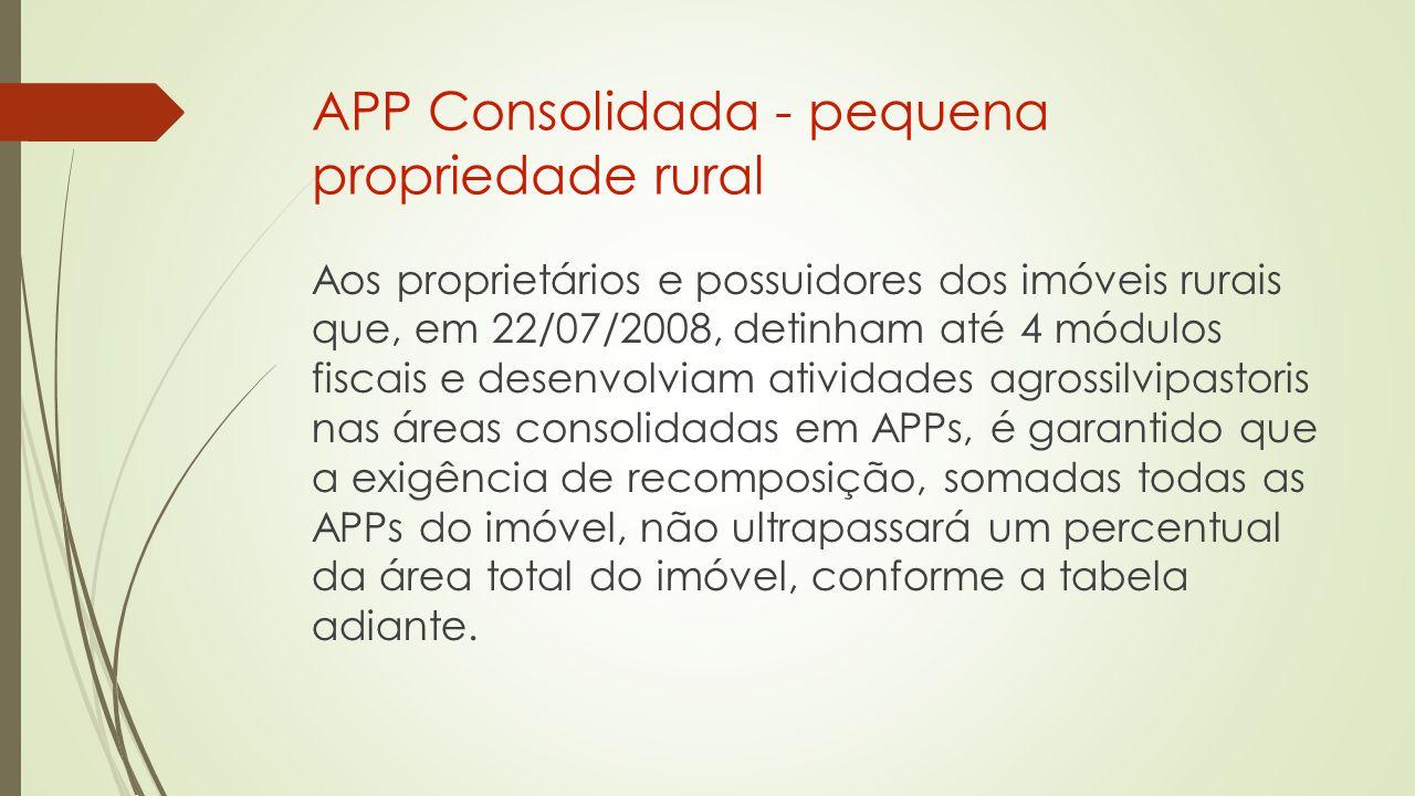 APP Consolidada - pequena propriedade rural Aos proprietários e possuidores dos imóveis rurais que, em 22/07/2008, detinham até 4 módulos fiscais e desenvolviam atividades agrossilvipastoris nas áreas consolidadas em APPs, é garantido que a exigência de recomposição, somadas todas as APPs do imóvel, não ultrapassará um percentual da área total do imóvel, conforme a tabela adiante.