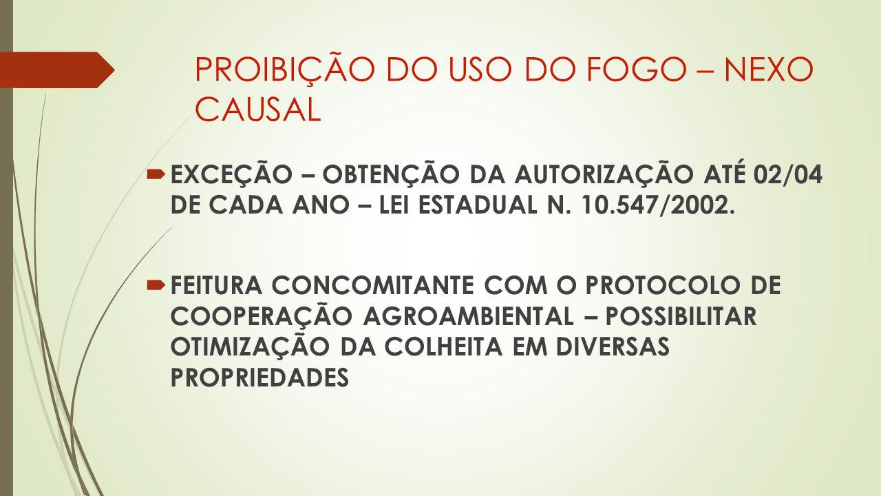 PROIBIÇÃO DO USO DO FOGO – NEXO CAUSAL  EXCEÇÃO – OBTENÇÃO DA AUTORIZAÇÃO ATÉ 02/04 DE CADA ANO – LEI ESTADUAL N.