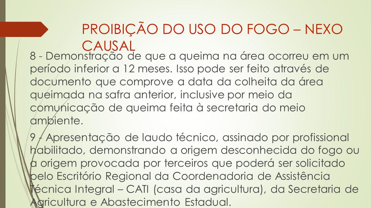 PROIBIÇÃO DO USO DO FOGO – NEXO CAUSAL 8 - Demonstração de que a queima na área ocorreu em um período inferior a 12 meses.