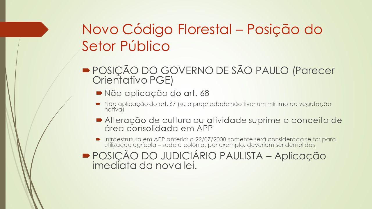 Novo Código Florestal – Posição do Setor Público  POSIÇÃO DO GOVERNO DE SÃO PAULO (Parecer Orientativo PGE)  Não aplicação do art.
