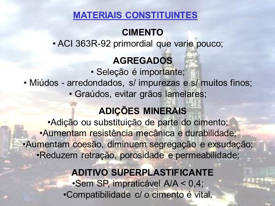 MATERIAIS CONSTITUINTES CIMENTO ACI 363R-92 primordial que varie pouco; AGREGADOS Seleção é importante; Miúdos - arredondados, s/ impurezas e s/ muito