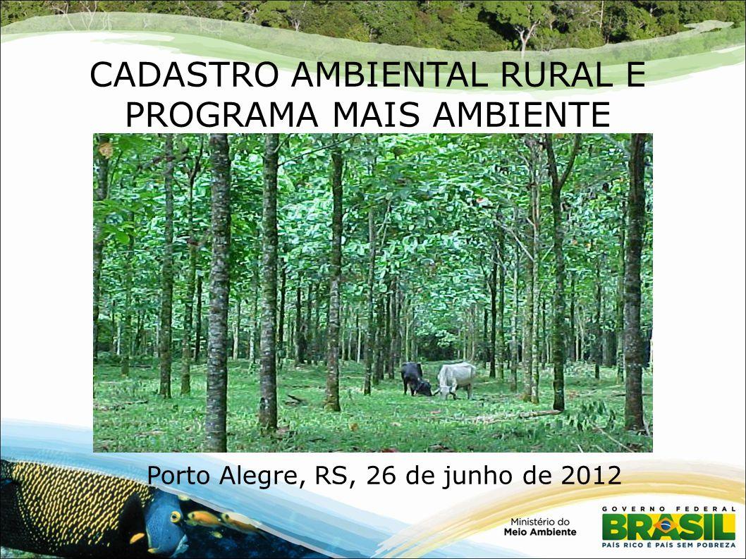 CADASTRO AMBIENTAL RURAL E PROGRAMA MAIS AMBIENTE Porto Alegre, RS, 26 de junho de 2012