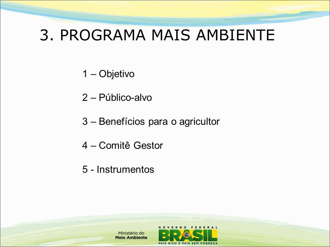 3. PROGRAMA MAIS AMBIENTE 1 – Objetivo 2 – Público-alvo 3 – Benefícios para o agricultor 4 – Comitê Gestor 5 - Instrumentos