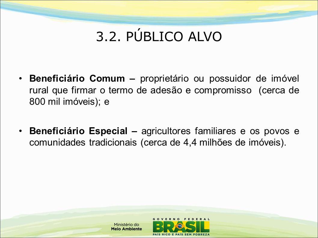 3.2. PÚBLICO ALVO Beneficiário Comum – proprietário ou possuidor de imóvel rural que firmar o termo de adesão e compromisso (cerca de 800 mil imóveis)