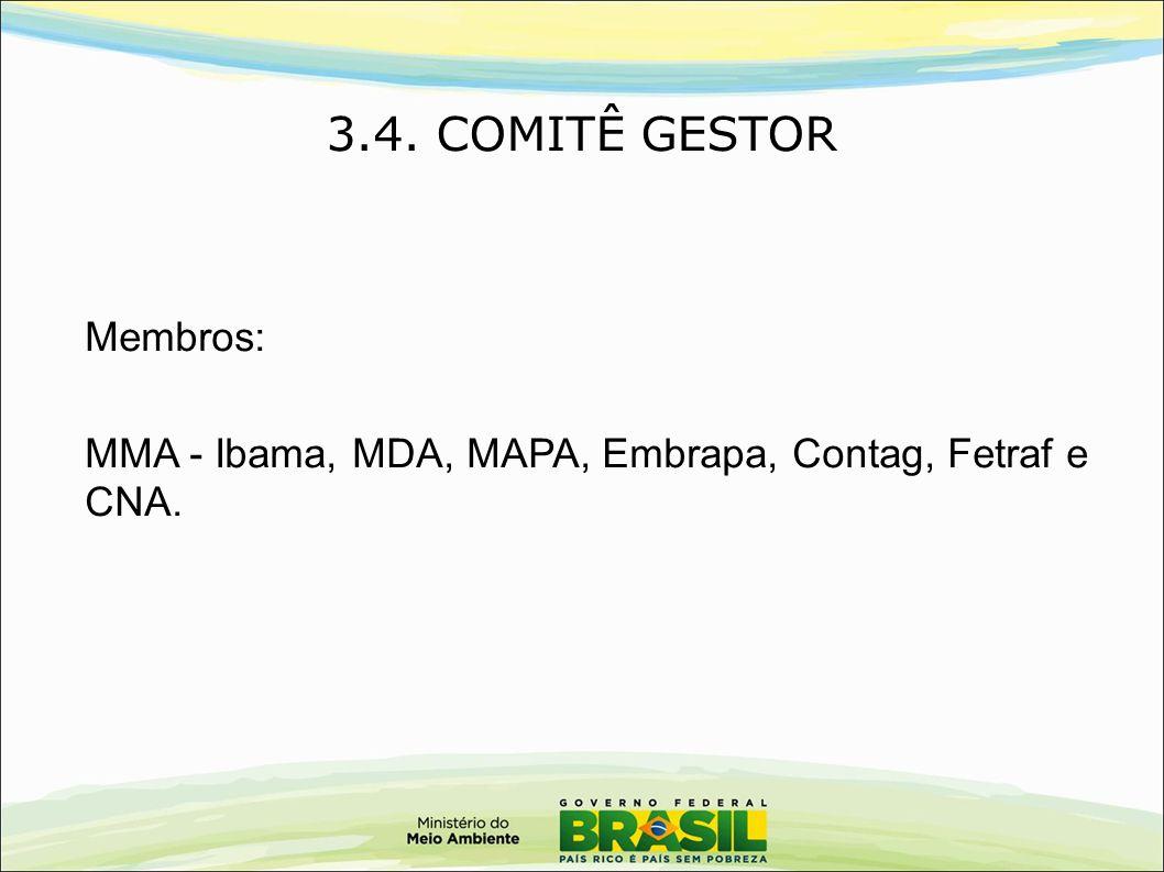 Membros: MMA - Ibama, MDA, MAPA, Embrapa, Contag, Fetraf e CNA. 3.4. COMITÊ GESTOR