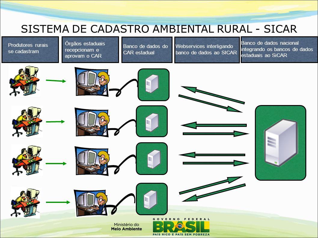 SISTEMA DE CADASTRO AMBIENTAL RURAL - SICAR Produtores rurais se cadastram Órgãos estaduais recepcionam e aprovam o CAR Banco de dados do CAR estadual