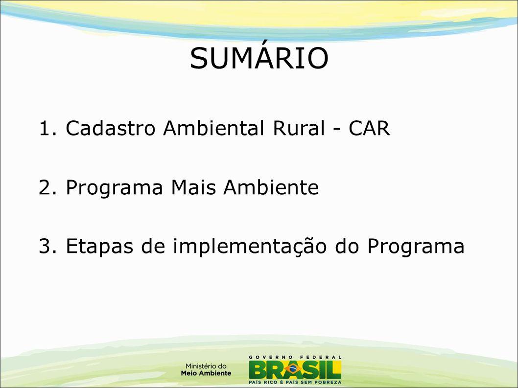 SUMÁRIO 1. Cadastro Ambiental Rural - CAR 2. Programa Mais Ambiente 3. Etapas de implementação do Programa