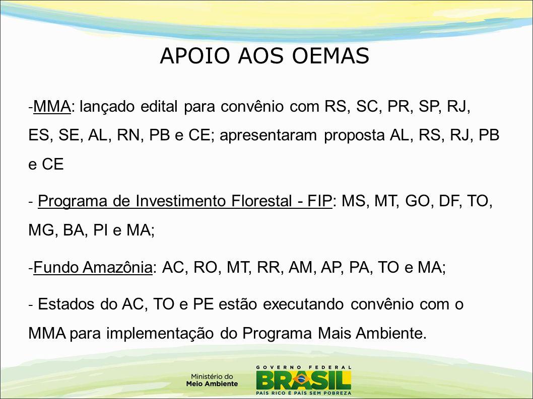 APOIO AOS OEMAS - MMA: lançado edital para convênio com RS, SC, PR, SP, RJ, ES, SE, AL, RN, PB e CE; apresentaram proposta AL, RS, RJ, PB e CE - Progr