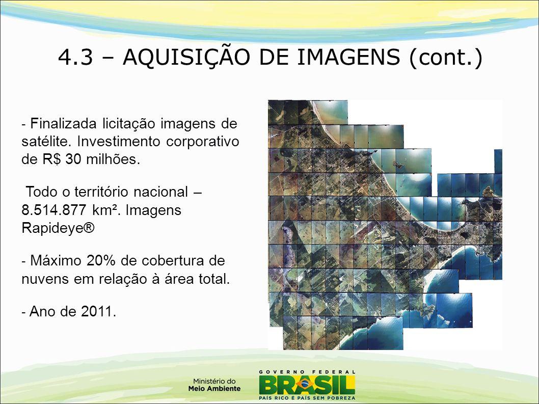 4.3 – AQUISIÇÃO DE IMAGENS (cont.) - Finalizada licitação imagens de satélite. Investimento corporativo de R$ 30 milhões. Todo o território nacional –