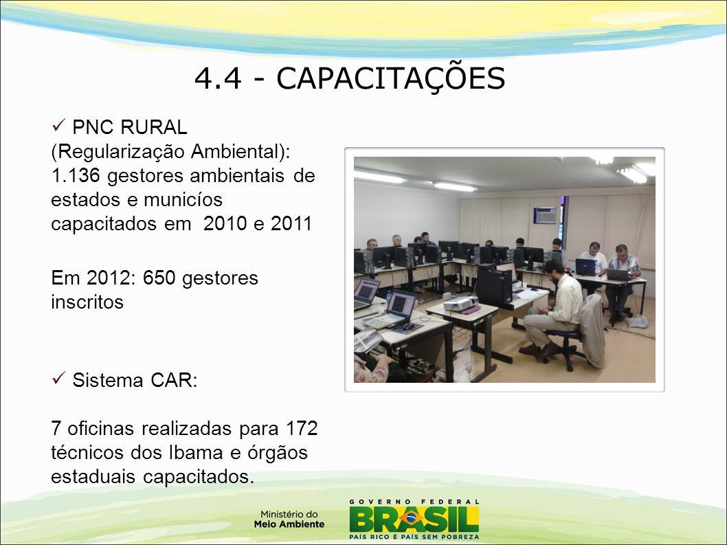 4.4 - CAPACITAÇÕES PNC RURAL (Regularização Ambiental): 1.136 gestores ambientais de estados e municíos capacitados em 2010 e 2011 Em 2012: 650 gestor