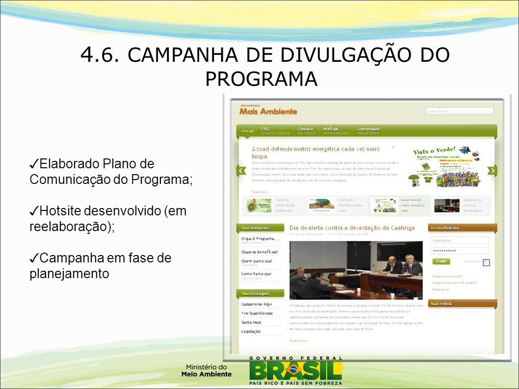 4.6. CAMPANHA DE DIVULGAÇÃO DO PROGRAMA ✓ Elaborado Plano de Comunicação do Programa; ✓ Hotsite desenvolvido (em reelaboração); ✓ Campanha em fase de