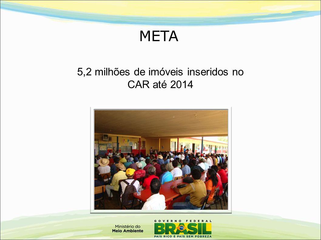 5,2 milhões de imóveis inseridos no CAR até 2014 META