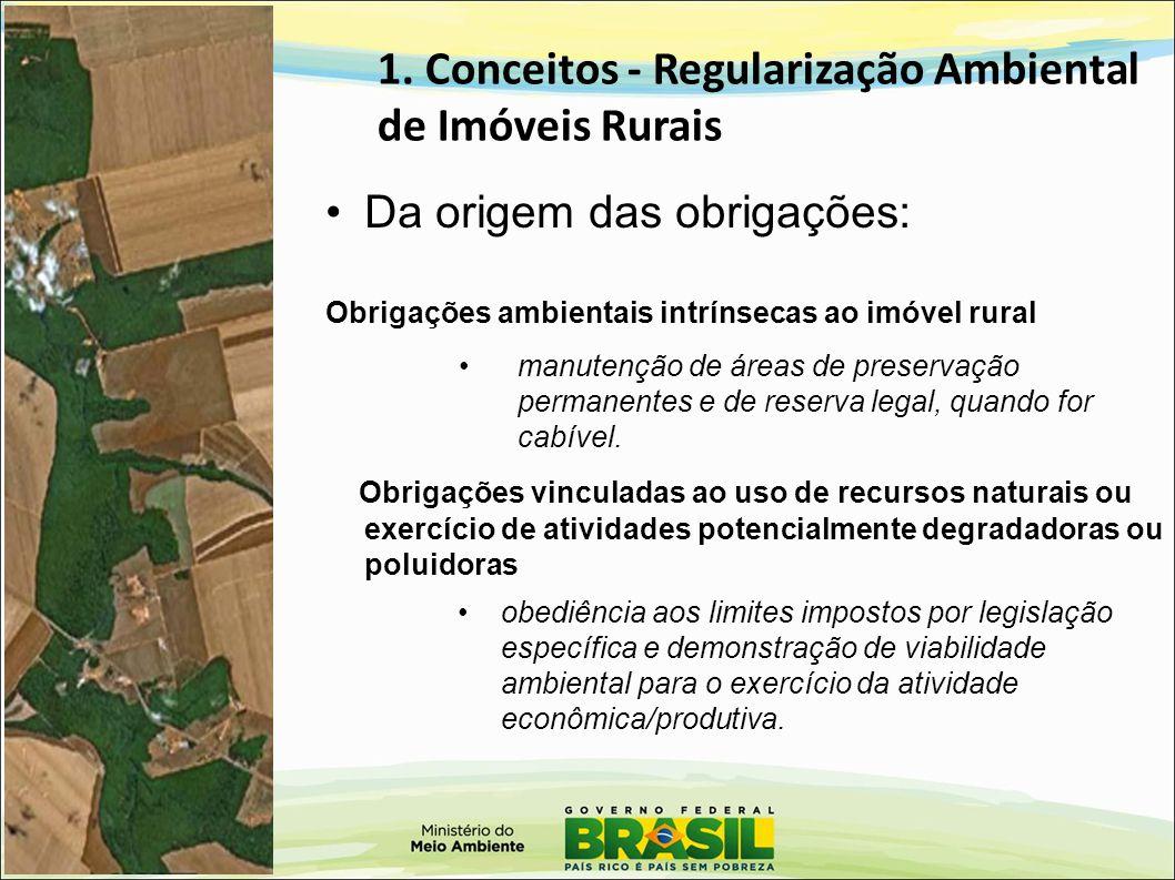 1. Conceitos - Regularização Ambiental de Imóveis Rurais Da origem das obrigações: Obrigações ambientais intrínsecas ao imóvel rural Obrigações vincul