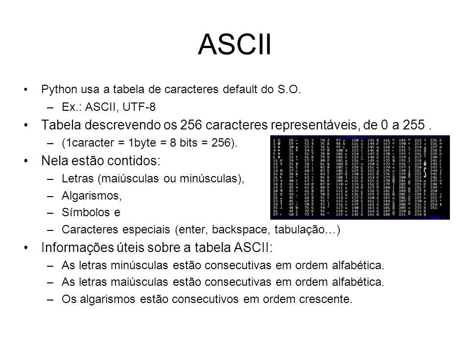 ASCII Python usa a tabela de caracteres default do S.O. –Ex.: ASCII, UTF-8 Tabela descrevendo os 256 caracteres representáveis, de 0 a 255. –(1caracte
