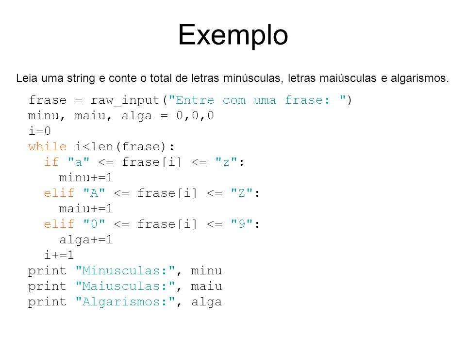 Exemplo frase = raw_input(