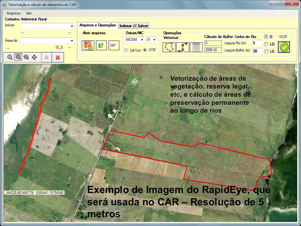 Vetorização de áreas de vegetação, reserva legal, etc, e cálculo de áreas de preservação permanente ao longo de rios Exemplo de Imagem do RapidEye, qu