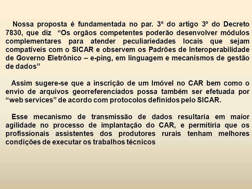 """Nossa proposta é fundamentada no par. 3º do artigo 3º do Decreto 7830, que diz """"Os orgãos competentes poderão desenvolver módulos complementares para"""