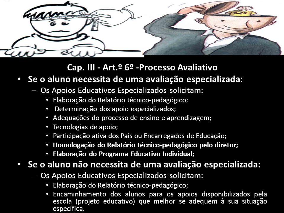 Cap. III - Art.º 6º -Processo Avaliativo Se o aluno necessita de uma avaliação especializada: Se o aluno necessita de uma avaliação especializada: – O