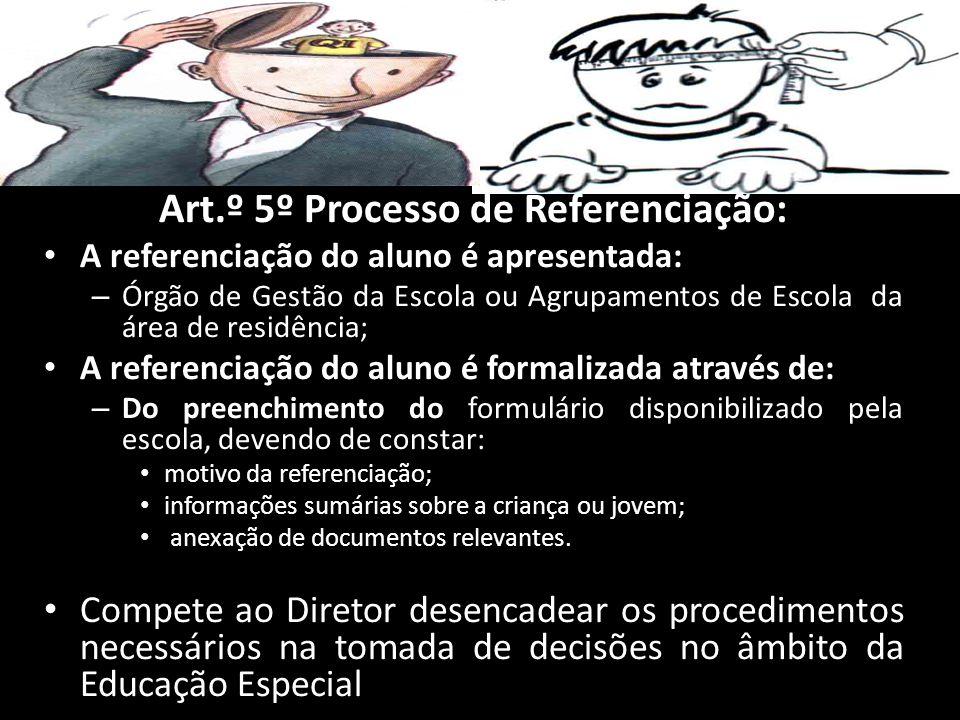 Art.º 5º Processo de Referenciação: A referenciação do aluno é apresentada: – Órgão de Gestão da Escola ou Agrupamentos de Escola da área de residênci
