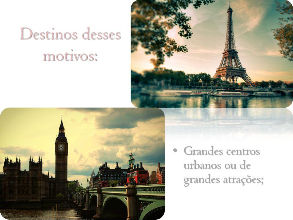 Destinos desses motivos: Grandes centros urbanos ou de grandes atrações; Grandes centros urbanos ou de grandes atrações;