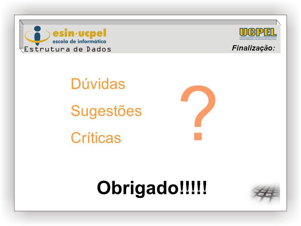 Finalização: Dúvidas Sugestões Críticas ? Obrigado!!!!!