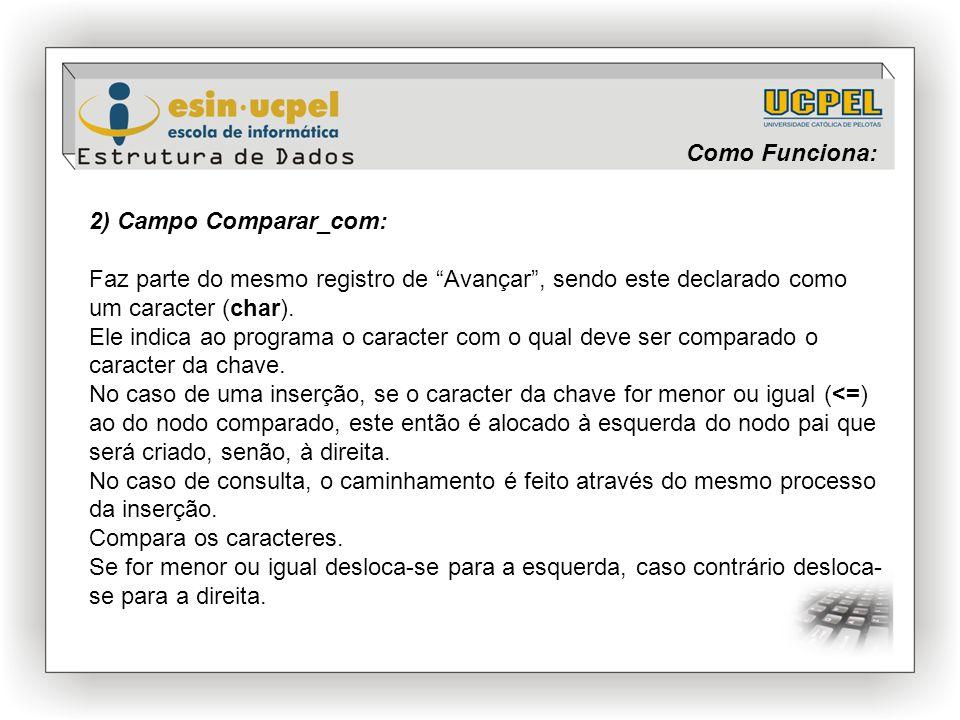 """Como Funciona: 2) Campo Comparar_com: Faz parte do mesmo registro de """"Avançar"""", sendo este declarado como um caracter (char). Ele indica ao programa o"""