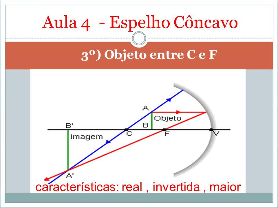 Aula 4 - Espelho Côncavo 3º) Objeto entre C e F características: real, invertida, maior