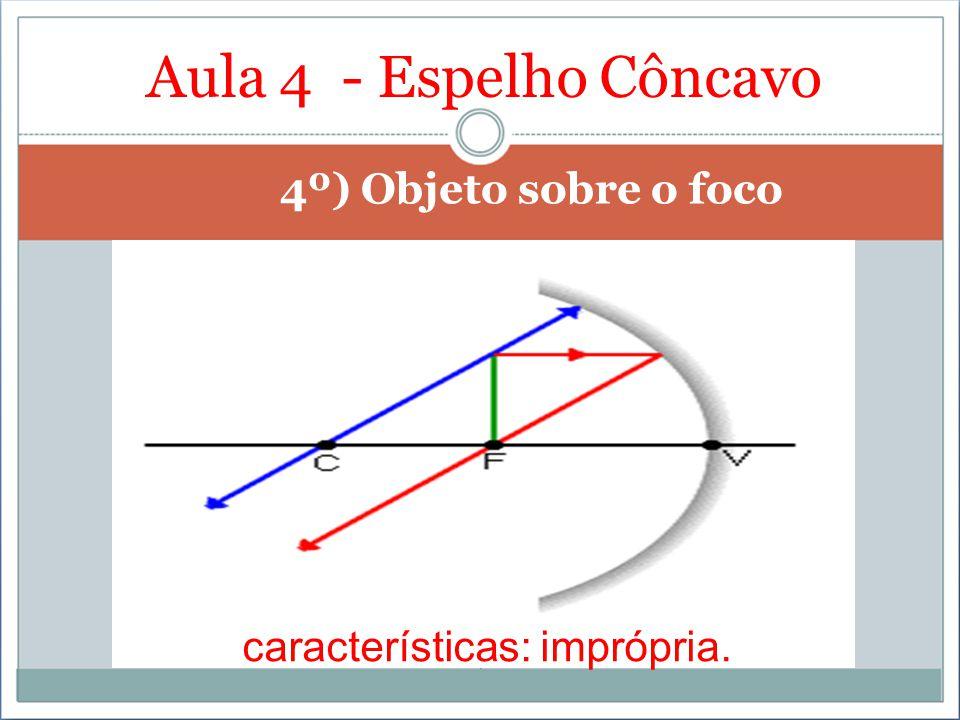 Aula 4 - Espelho Côncavo 4º) Objeto sobre o foco características: imprópria.
