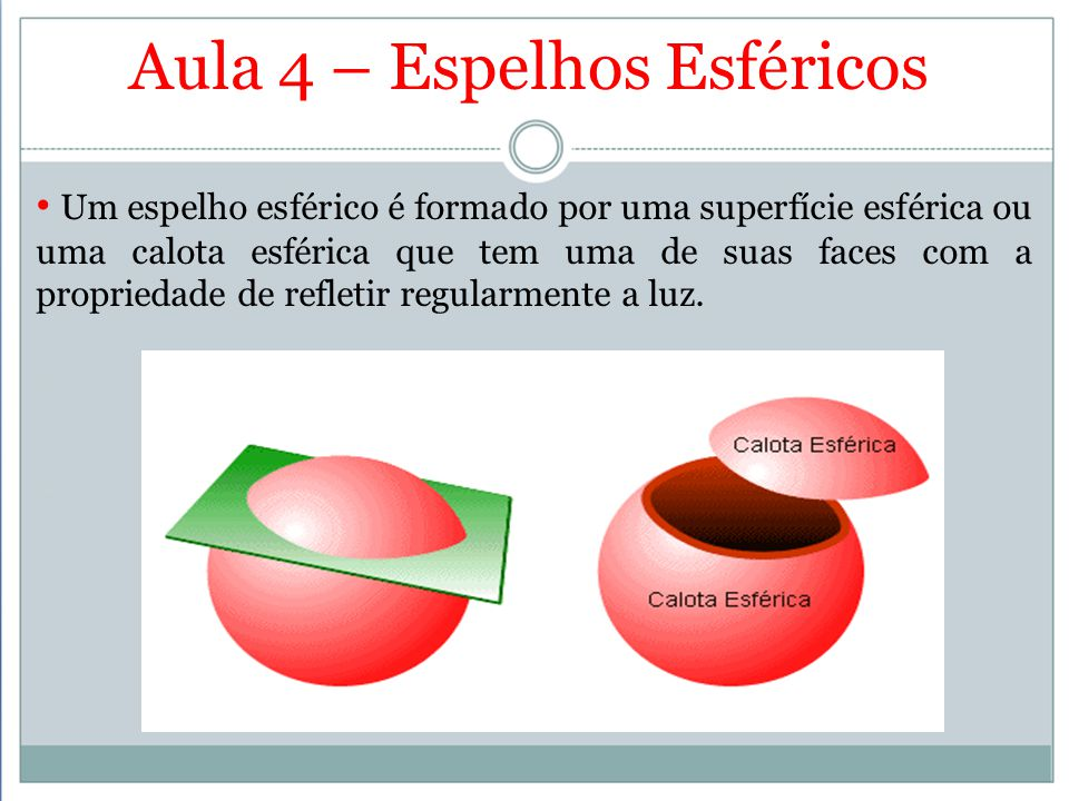 Aula 4 – Espelhos Esféricos Um espelho esférico é formado por uma superfície esférica ou uma calota esférica que tem uma de suas faces com a proprieda