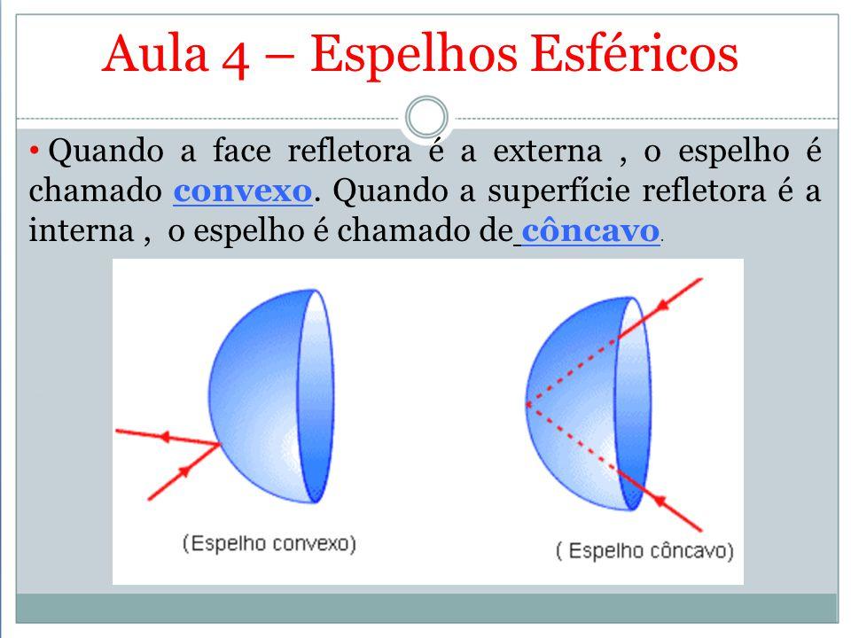 Aula 4 – Espelhos Esféricos Quando a face refletora é a externa, o espelho é chamado convexo. Quando a superfície refletora é a interna, o espelho é c