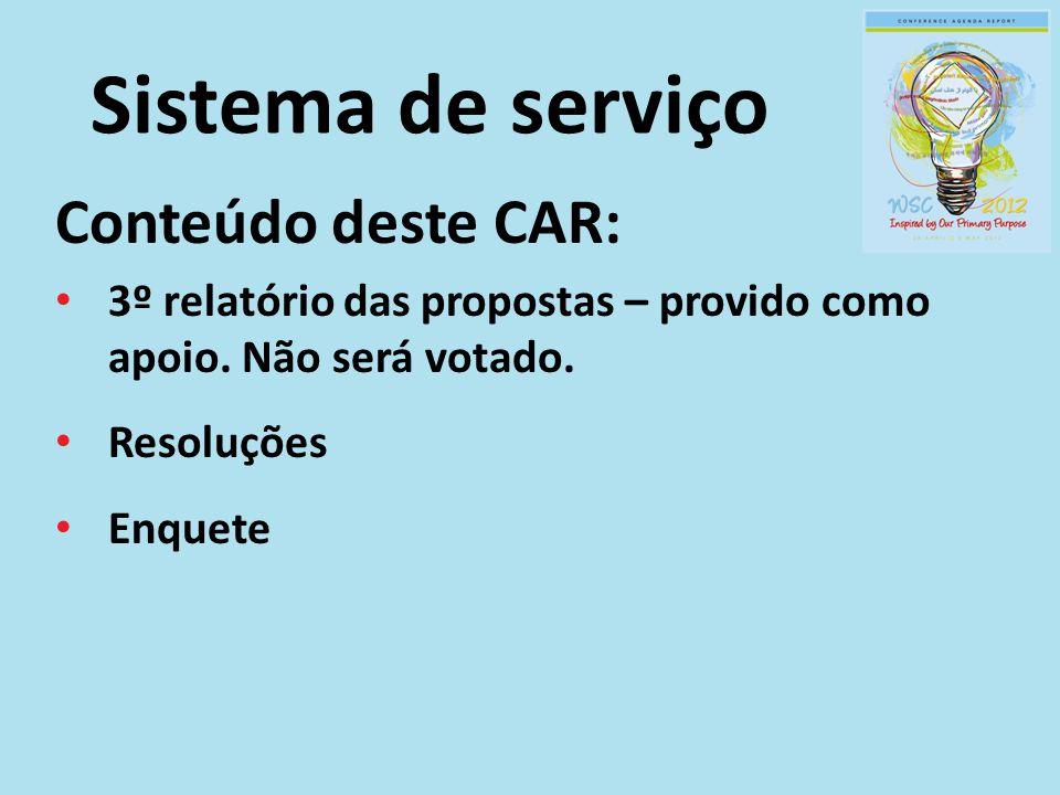 Sistema de serviço Conteúdo deste CAR: 3º relatório das propostas – provido como apoio. Não será votado. Resoluções Enquete
