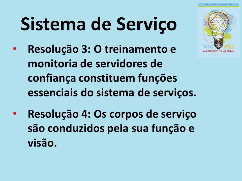 Sistema de Serviço Resolução 3: O treinamento e monitoria de servidores de confiança constituem funções essenciais do sistema de serviços. Resolução 4