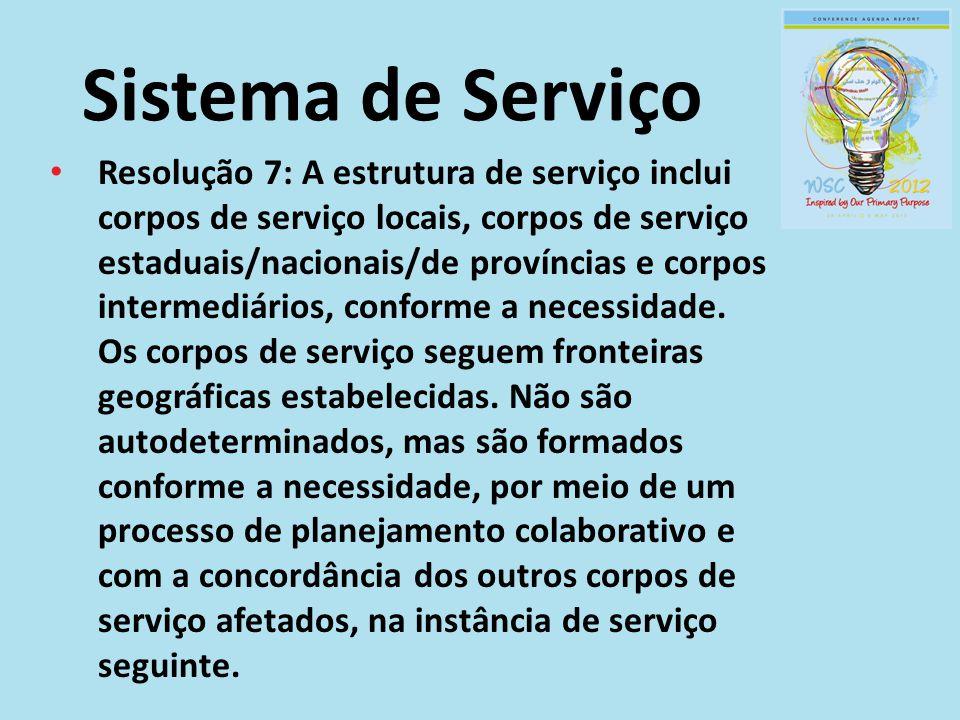 Sistema de Serviço Resolução 7: A estrutura de serviço inclui corpos de serviço locais, corpos de serviço estaduais/nacionais/de províncias e corpos i