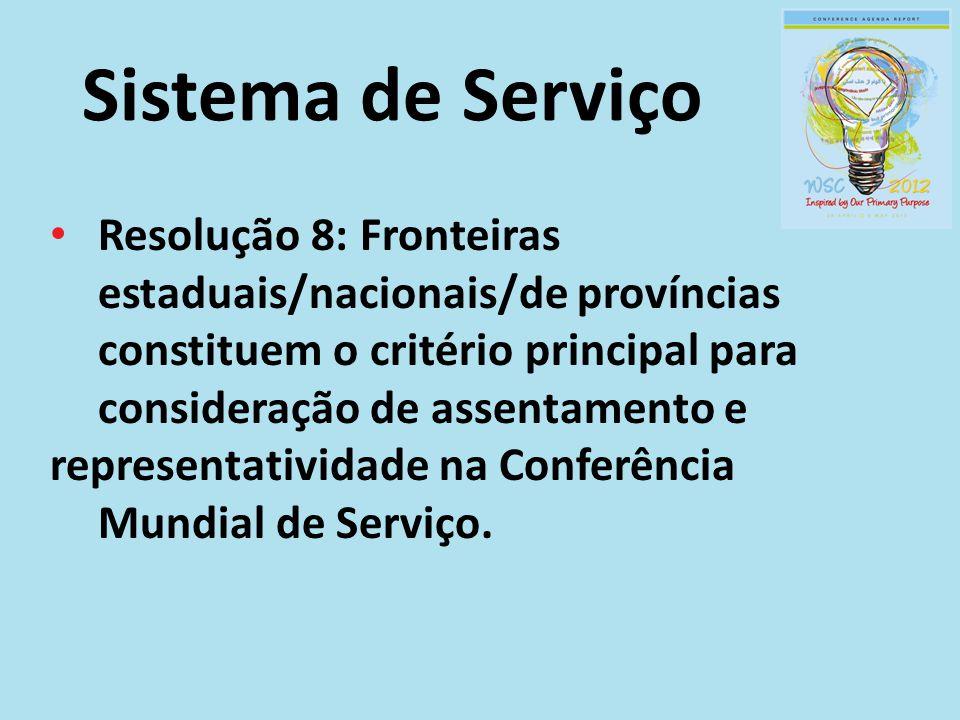 Sistema de Serviço Resolução 8: Fronteiras estaduais/nacionais/de províncias constituem o critério principal para consideração de assentamento e repre