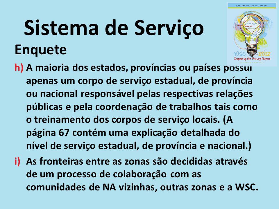 Enquete h)A maioria dos estados, províncias ou países possui apenas um corpo de serviço estadual, de província ou nacional responsável pelas respectiv