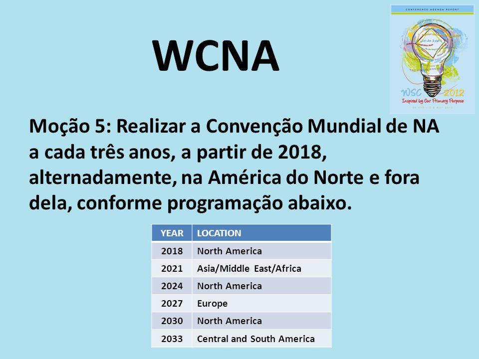 WCNA Moção 5: Realizar a Convenção Mundial de NA a cada três anos, a partir de 2018, alternadamente, na América do Norte e fora dela, conforme program