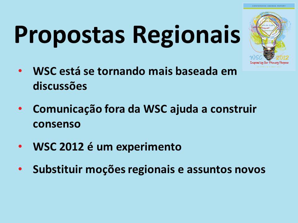 WSC está se tornando mais baseada em discussões Comunicação fora da WSC ajuda a construir consenso WSC 2012 é um experimento Substituir moções regiona