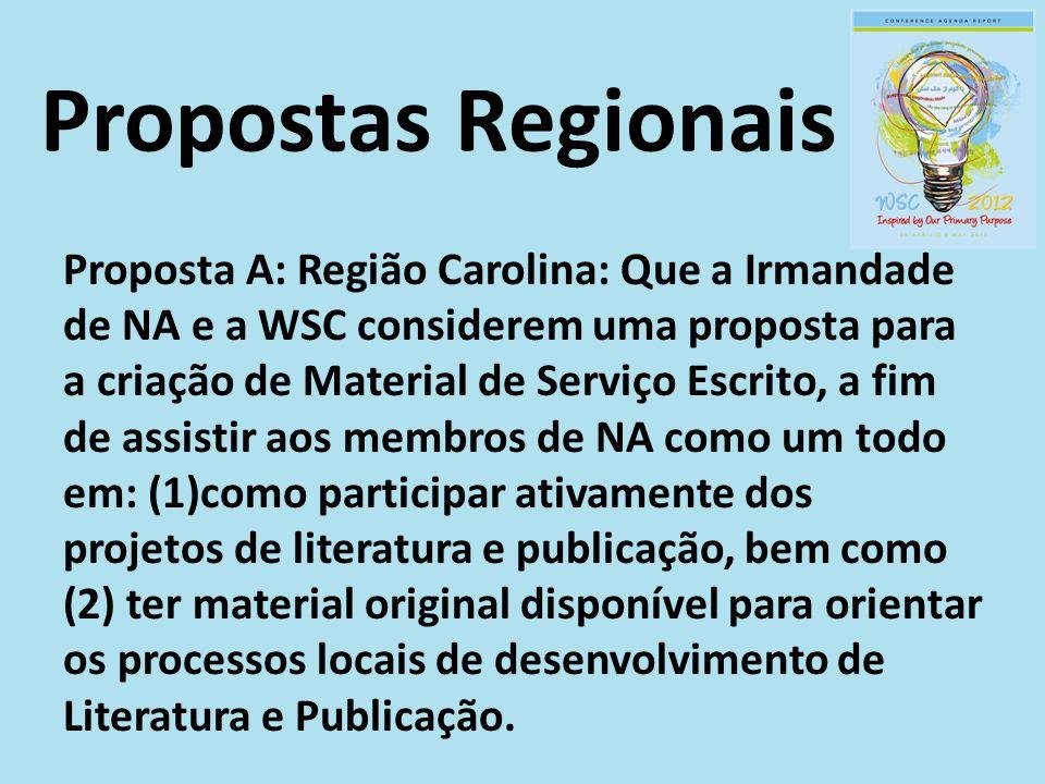 Propostas Regionais Proposta A: Região Carolina: Que a Irmandade de NA e a WSC considerem uma proposta para a criação de Material de Serviço Escrito,