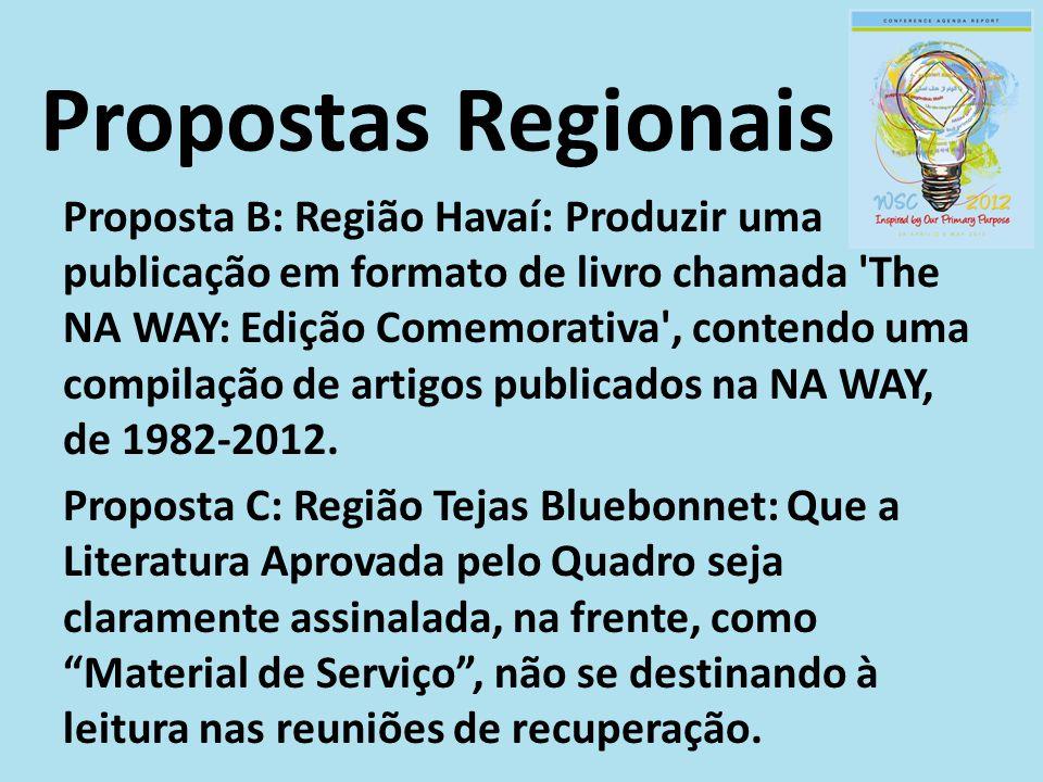 Proposta B: Região Havaí: Produzir uma publicação em formato de livro chamada 'The NA WAY: Edição Comemorativa', contendo uma compilação de artigos pu