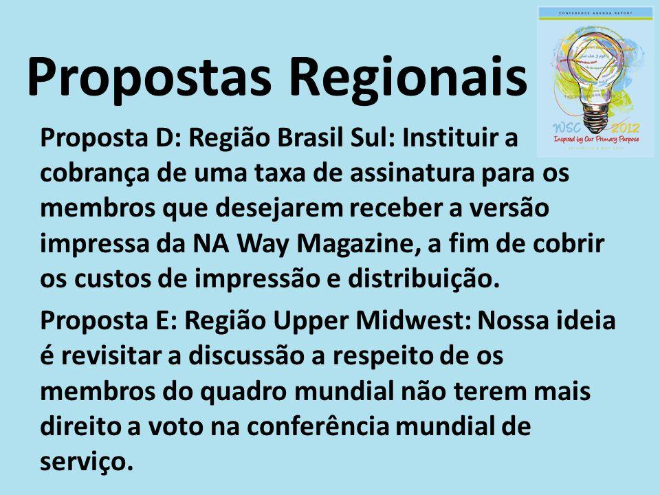 Proposta D: Região Brasil Sul: Instituir a cobrança de uma taxa de assinatura para os membros que desejarem receber a versão impressa da NA Way Magazi