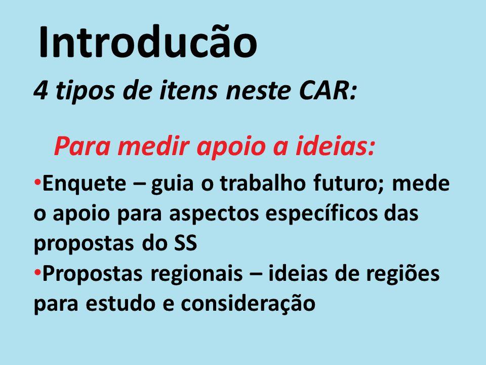 Introdução 2 tipos de propostas: Relatório das Propostas do SS (adendo A do CAR) – recurso de apoio para entender as resoluções e a enquete; Propostas Regionais – ideias para estudo e consideração.